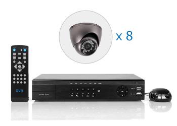 Комплект — 8 внутренних цветных камер 700 ТВЛ, видеорегистратор 8 каналов