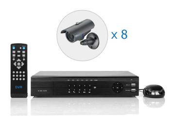 Комплект — 8 уличных цветных камер 700 ТВЛ, видеорегистратор 8 каналов