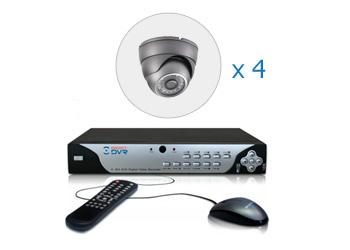 Комплект — 4 внутренние цветные AHD камеры 1 Мп, видеорегистратор 4 канала