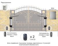 Установка автоматики - 2 рычажных привода, блок управления, радиопремник, 2 пульта, фотоэлементы