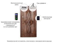 Установить биометрический замок - считыватель биометрический, электрозамок, сенсорная кнопка выхода