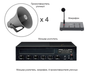 Установка оповещения - микшер-усилитель, микрофон, 4 громкоговорителя